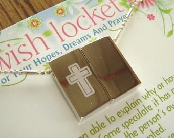 Cross-Wish-Prayer Locket- Engraved necklace-religious-pendant-Personalization Option