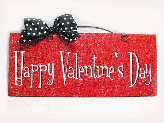happy valentines day sign with glitter in by