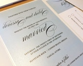 Sample Elegant Script Wedding Invitation, Blue Invitation, Vintage Wedding Invitations, Shabby Chic Wedding Invitation