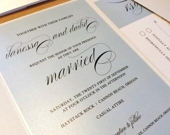 Sample Elegant Script Wedding Invitation, Blue Invitation, Vintage Wedding Invitations, Shabby Chic Wedding Invitation