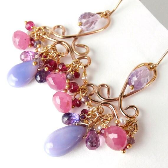 SALE 20% - Pink Sapphire Chandelier Earring Opal Wire Wrap Handmade