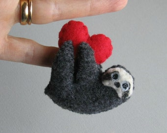 Valentine Sloth miniature felt plush stuffed animal with bendable legs and hand painted face- black -rain forest animal