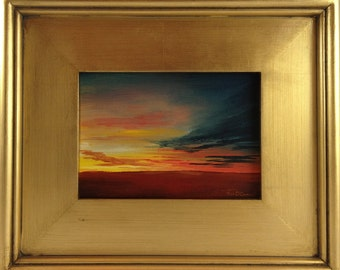 Sunset Over Field - Original Acrylic Painting on Canvas - framed