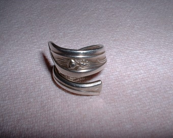 Vintage Silver Tulip Spoon Ring Handcrafted Size 7 to 8 Sale