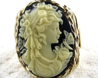 Butterfly Goddess Cameo Ring 14K Rolled Gold Custom Jewelry
