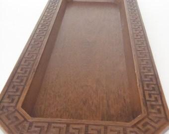 Vintage Tray Greek Key Pattern Faux Wood Plastic Dresser Tray Faux Bois
