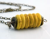 Yellow Turquoise Discs Necklace - Yellow, Mustard, Rondelles, Honey, Brown, Rustic, OOAK, Big, Autumn, Fall, Warm, Antiqued Brass