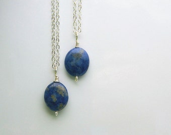 Sodalite Necklace - Sodalite, Blue, Cobalt, Stone, Oval, Dark Blue, Royal, Handmade, Cute, Simple, Lovely, Unique, Summer