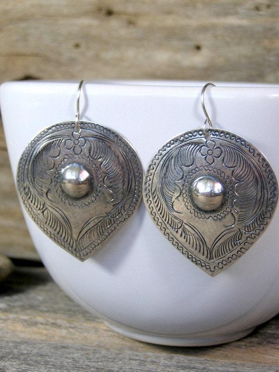 Silver Earrings, Teardrop Earring, Bohemian Earrings, Southwest Earrings, Tribal Earrings, Ethnic Earrings, Tribal Jewelry, Boho
