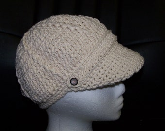 Newsboy Hat with band in cotton yarn for children and adults