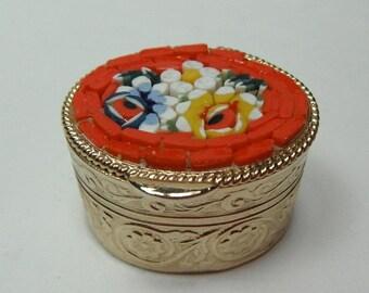 Vintage Tiny Micro Mosaic Pill Box Italy 1960s Flowers Mini Ornate Trinket Box