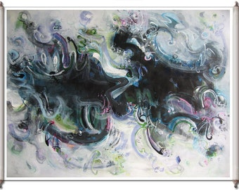 "abstract black painting seascape, art blue black green painting, abstract seascape 18""x24"" painting on paper"