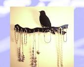 "jewelry holder  necklace rack  organizer  storage display  wooden 12 pegs ""bird on a branch"""