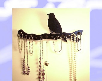 jewelry holder   necklace rack   organizer   wooden 12 pegs bird on a branch