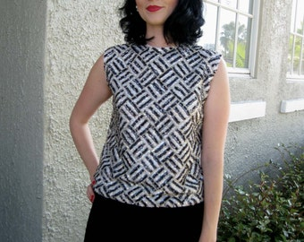 Black and Silver Beaded and Sequinned Shell Top