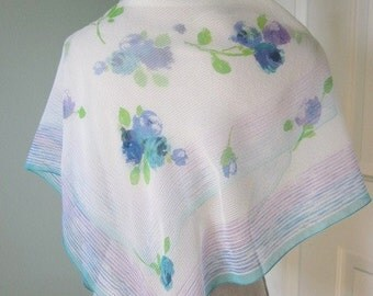 Vintage Laura Ashley Scarf -  Laure Ashley Chiffon Scarf - Blue Roses - Abstract Floral Scarf - Blue and White Scarf - Large Square Scarf