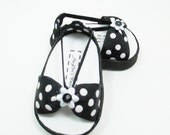 """American Girls 18"""" doll shoes sandals black and white polka dots"""