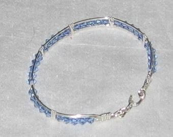 Wire Wrapped Bracelet  with Light Blue Swarovski Crystals - 262