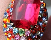 Redesigned Vintage Fuschia Rainbow Swarovski Crystal Adjustable Cocktail Statement Ring and Earrings