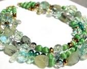 Fresh green garnet, mixed glass and vintage handmade statement necklace