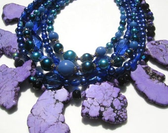 Statement purple and blue necklace with vintage, turquoise and glass beads