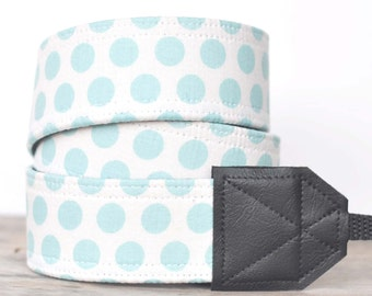 MADE TO ORDER - Camera Strap - Good Life Dots Blue