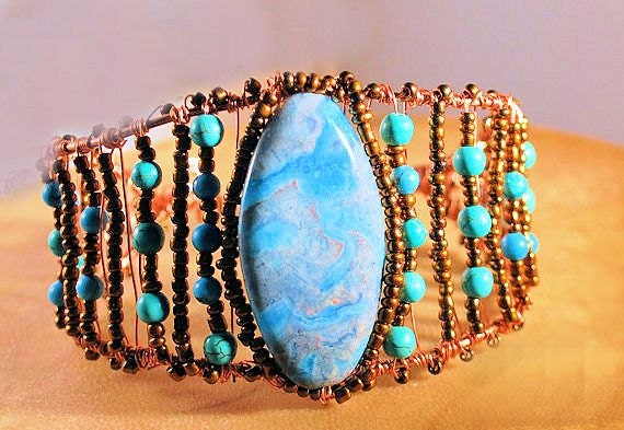 AquaTerra Turquoise Wire Wrapped Copper Bracelet Cuff