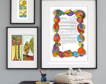 Intertwined Ketubah- Jewish wedding contract and/or illuminated wedding vows