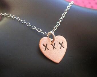 XXX--Copper Heart Necklace, Copper Charm, Small Charm, Small Heart Charm, Slut, Whore, Sex, Porn