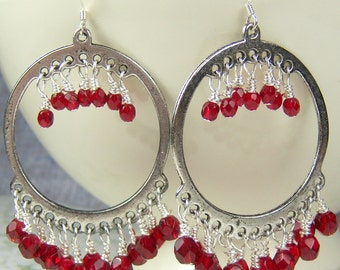 Big Red Chandeliers with red Czech beads and large hoop