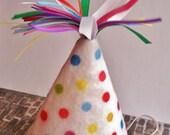 Mini Rainbow dots Felt Birthday Hat