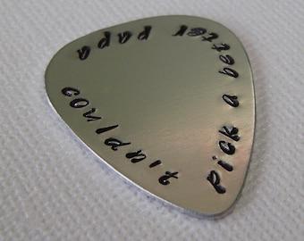 Guitar Pick / Custom Guitar Pick / Personalized Guitar Pick / Hand Stamped Guitar Pick / Aluminum Guitar Pick