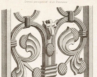 1880 French Antique Engraving of Decorative and Architectural Metalwork. Choir Grill in Sassetot, France. Plate 30 - Architectural Print