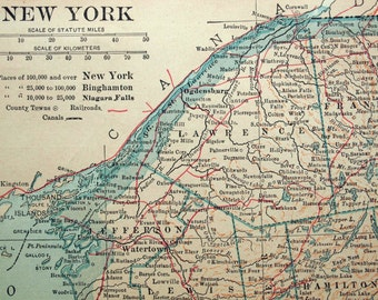 1922 Vintage Map of New York State