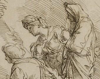 Three Marys at the Sepulchre - 1734 Antique Engraving - Bernard Picart Print