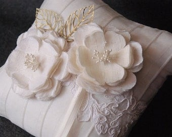 Ivory Pleated Silk Wedding Ring Pillow with Lace, Leaves and Handmade Blooms - Gwen