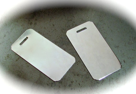 """10 Polished Luggage Tag Blanks 18 Gauge 1-1/2"""" x 3"""" Anodized Aluminum - Slot Punch - 10 Blanks"""