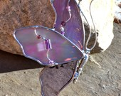 Butterfly in Flight Pink and Lavender Stained Glass Suncatcher