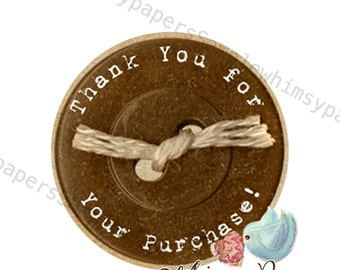 "Brown Button ""Thank You for your purchase"" stickers - set of 50"
