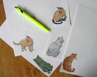 cat stationery luxury letter set on 25 per cent cotton paper for writing your refined, feline-loving pen pal - your choice of cat
