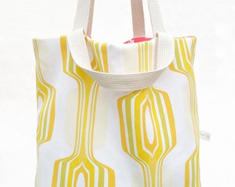 Tote Bag , Reversible Bag , Bag , Canvas Bag , Carryall , Diaper Bag  'Lemon'