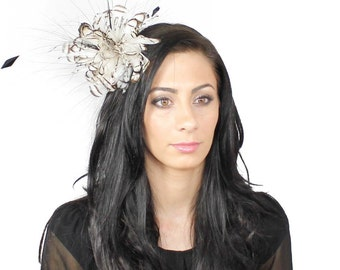 Cream and Brown Partridge Fascinator Kentucky Derby or Wedding Hat With Headband