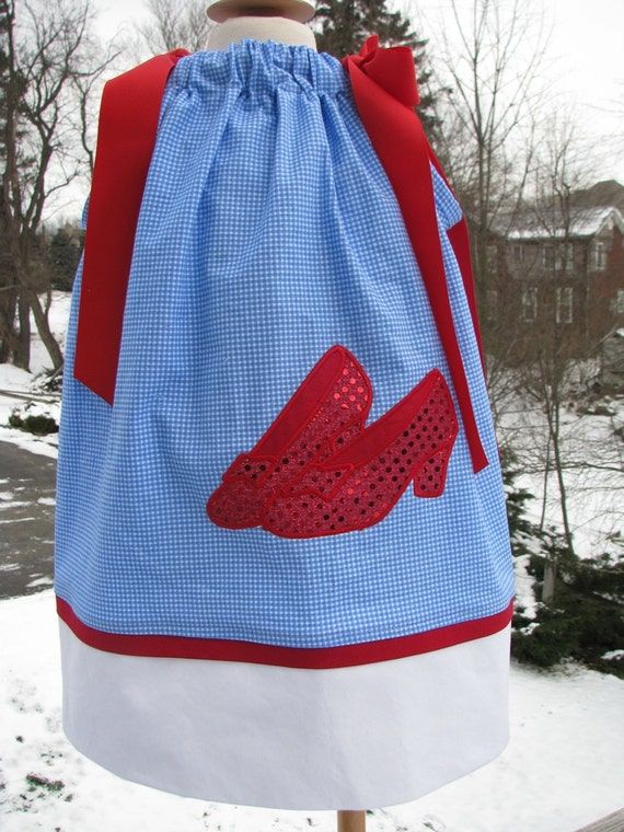 Ruby red slippers Dorothy Wizard of Oz Pillowcase Dress Blue Gingham Over the Rainbow Party pillowcase dress