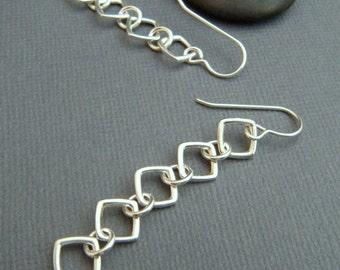 silver chain earrings. simple long silver earrings. long dangle. sterling silver. geometric earrings. everyday. 5 tiered square diamonds