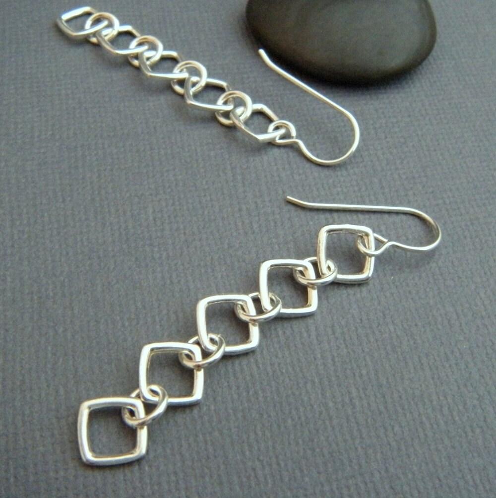 silver chain earrings. simple long silver earrings. long