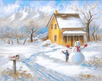 House Painting - Snowman - winter - snow - children- painting- landscape - home town  - 11 x 14 - On Sale Now