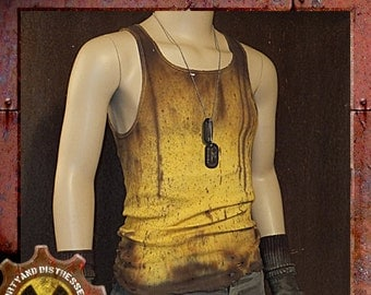Made to Order a Mens One of a Kind Mustard Gas Yellow Dirty and Distressed Wasteland Tank Top