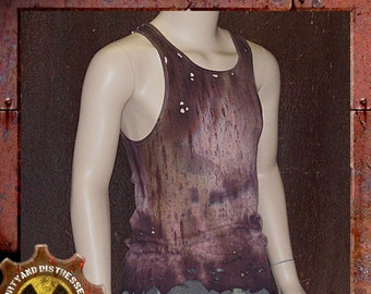 Made to Order a Mens One of a Kind Ruined and Rusted Dirty and Distressed Wasteland Tank Top