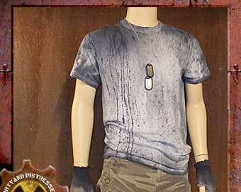 Made to Order a Mens One of a Kind Blue and Battered Dirty and Distressed Wasteland T-shirt