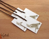 Grey Vintage Bird Gift Tag on White Cardstock with Chocolate Brown String, set of 12